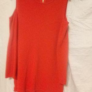 INC orange open shoulder top. 65 viscose 35 nylon